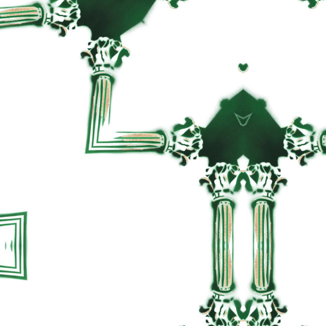 Dido Emerald Green White Chinoiserie Lattice Detail Pearl and Maude