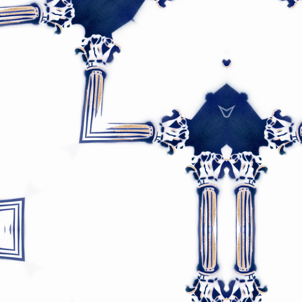 Dido Sapphire Navy Blue White Chinoiserie Lattice Pattern Detail Pearl and Maude