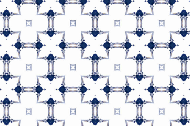 Dido Sapphire Navy Blue White Chinoiserie Lattice Pattern Pearl and Maude Medium