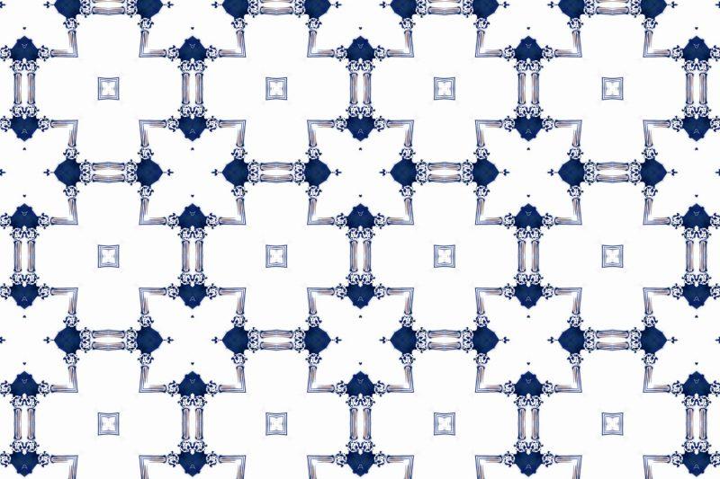 Dido Sapphire Navy Blue White Chinoiserie Lattice Pattern Pearl and Maude Medium