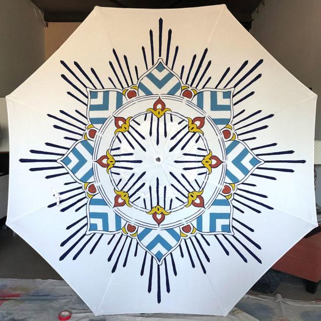 custom blue and white garden umbrella