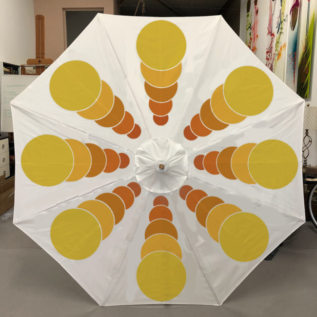 custom yellow and white garden umbrella