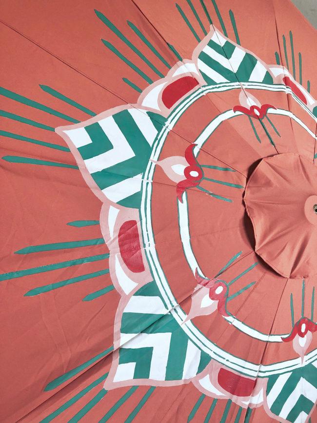 custom coral and green garden umbrella