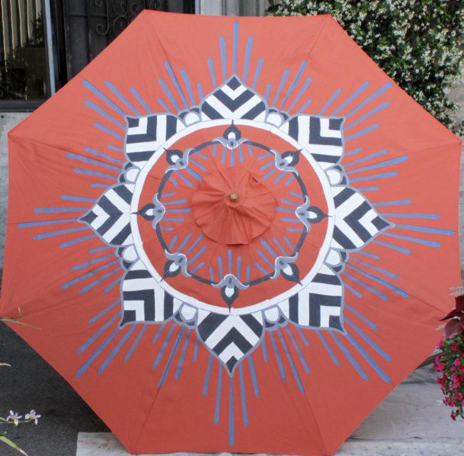 custom orange and grey garden umbrella