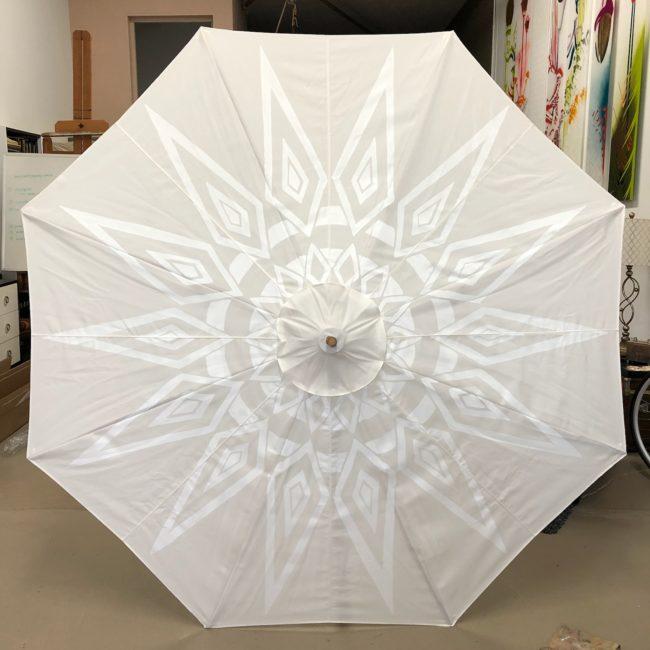 custom white on white garden umbrella