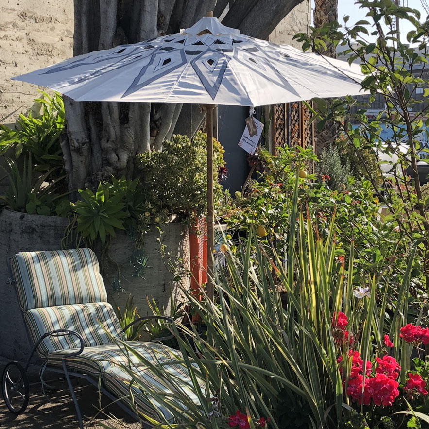 Hand Painted Ivory Patio Umbrella