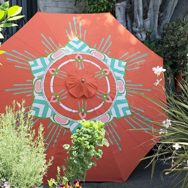 custom coral, green and white garden umbrella