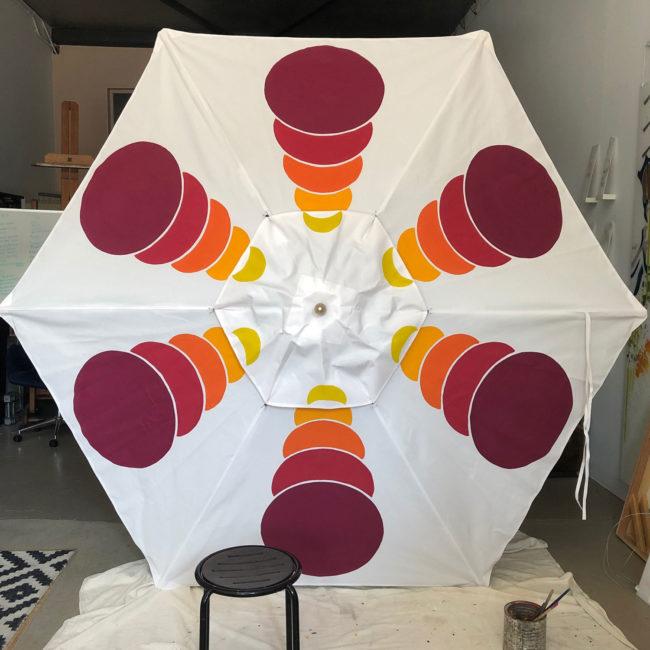 custom magenta yellow and white garden umbrella