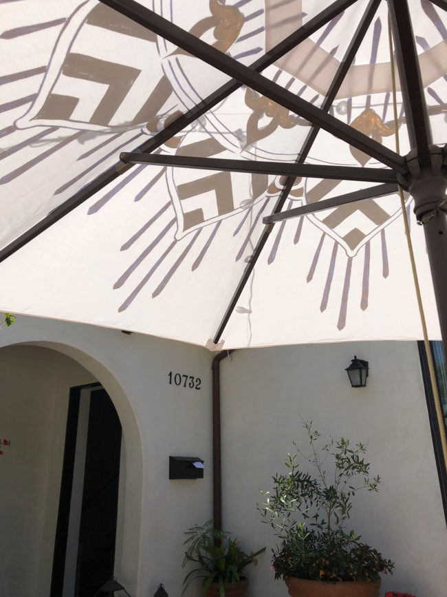 underside of a custom patio umbrella by pearl and maude
