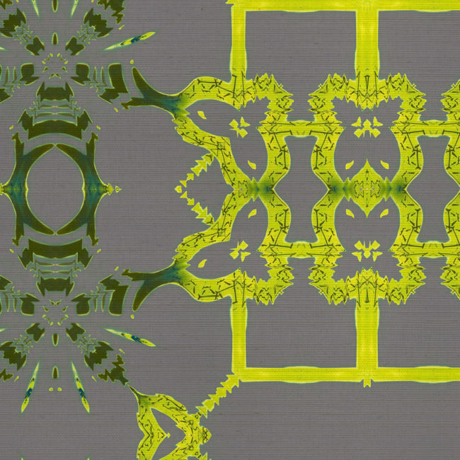 Arachne is a yellow and gray home decor pattern. This lattice inspired design on grasscloth wallpaper vibrates with life.