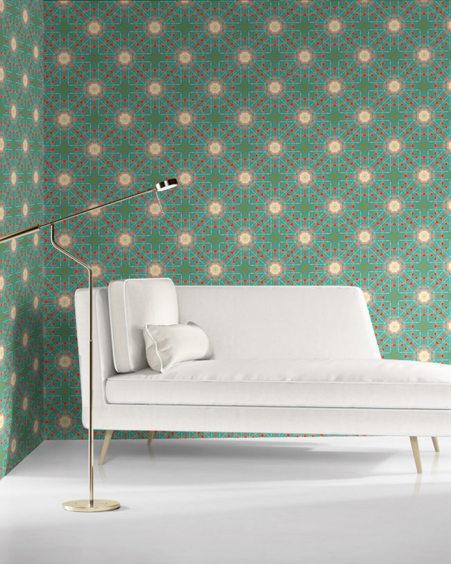 a beautiful room with Beaufort teal coral Spanish medallion wallpaper