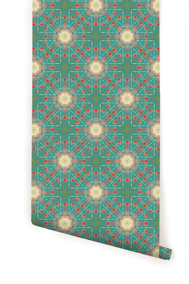 a roll of Beaufort teal coral Spanish medallion wallpaper wallcovering