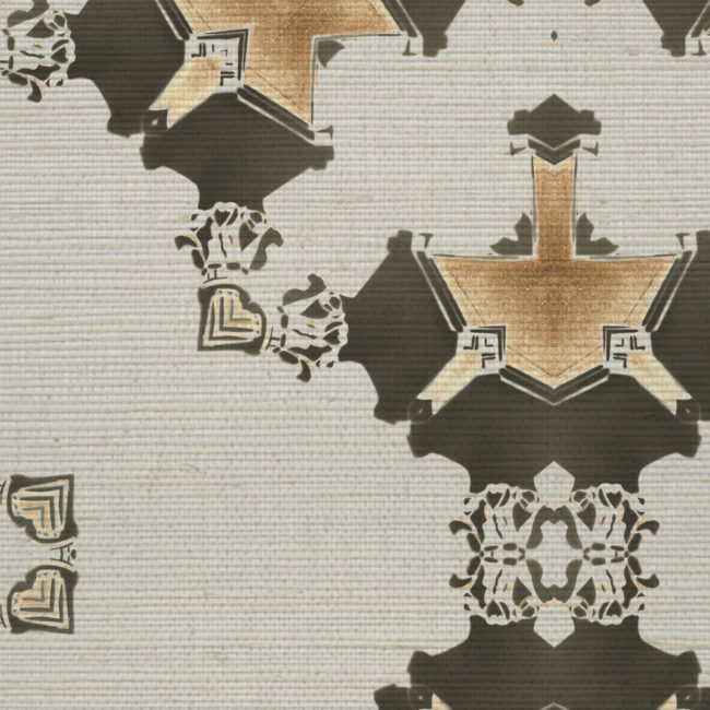 Eva Grey Gold Grasscloth Detail Pearl and Maude
