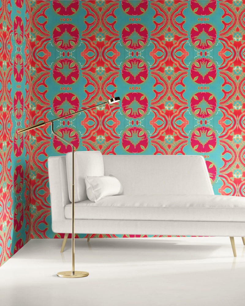 A bold, modern arts and crafts room with white furniture and coral and turquoise William Morris inspired wallpaper by Peale and Maude