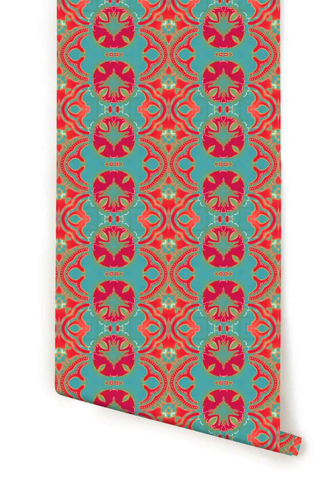 A roll of coral and turquoise modern arts and crafts wallpaper by Pearl and Maude