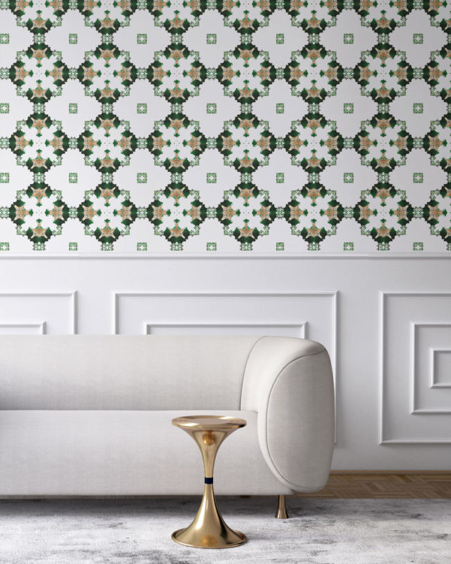 luxury wallpaper los angeles art deco green white gold pearl and maude