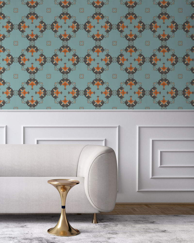 blue and grey art deco wallpaper los angeles