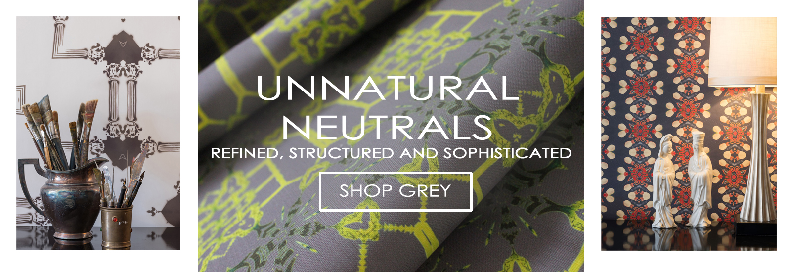Unnatural Neutral Wallpaper and Fabrics in Grey
