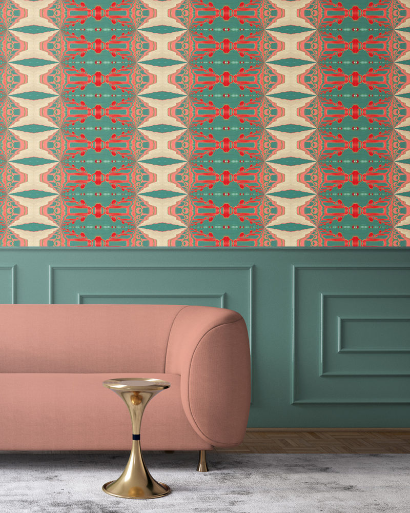 Itzel in turquoise, red, peach and cream is a surreal, striped artisanal wallpaper designed in Los Angeles. Design - Itzel by Pearl and Maude. Vellum wallpaper comes untrimmed. Standard wallpaper comes pre-pasted.