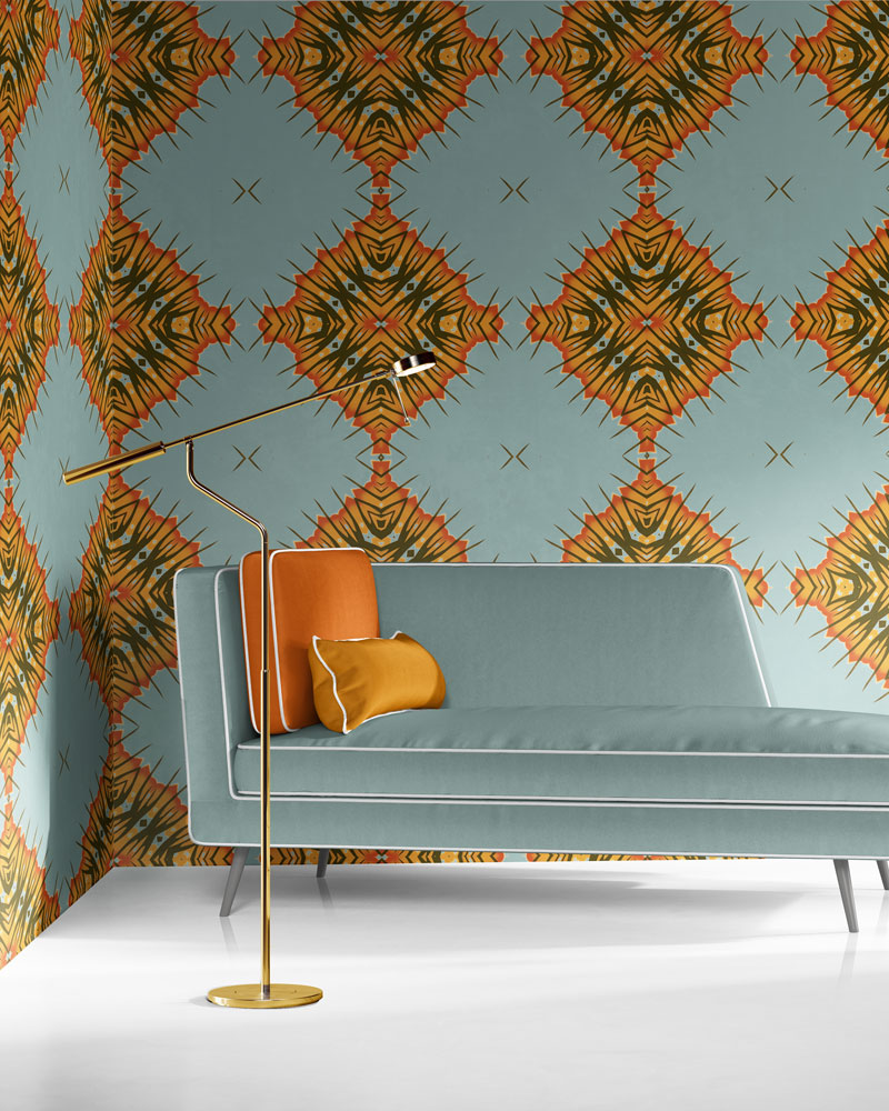Desert Diamonds in dusty blue, orange and olive is a modern, colorful luxury wallpaper designed in Los Angeles. Design - Desert Diamonds by Pearl and Maude. Standard wallpaper comes pre-pasted.