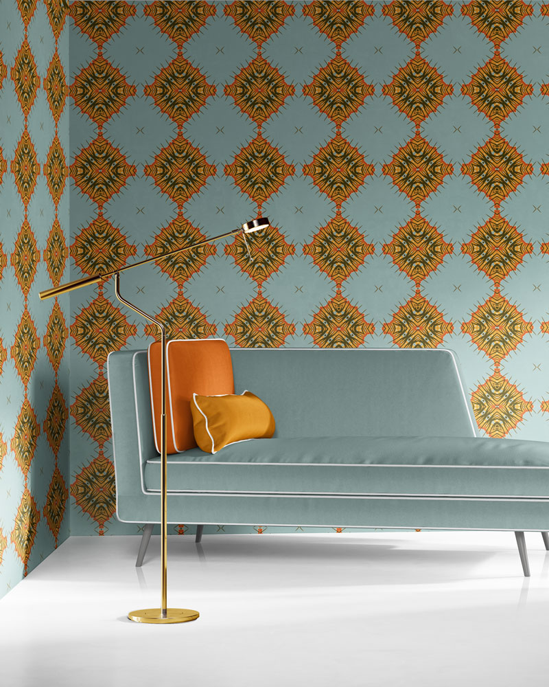Desert Diamonds in dusty blue, orange and olive is a modern, colorful luxury wallpaper designed in Los Angeles. Design - Desert Diamonds by Pearl and Maude. Vellum wallpaper comes untrimmed.