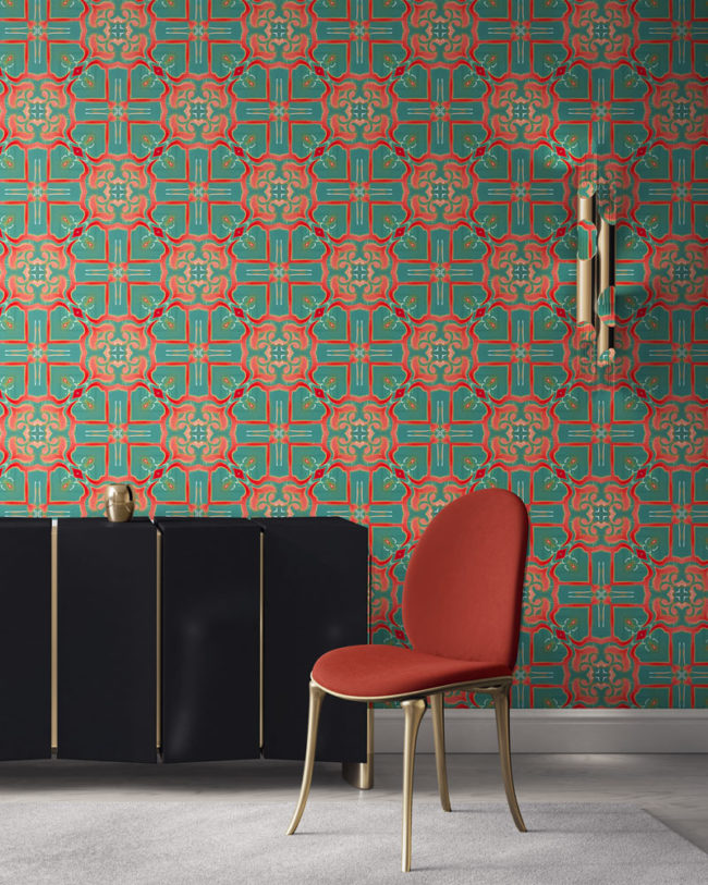 Mallorca in turquoise and coral is a modern take on Spanish tile design. It is a colorful luxury wallpaper designed in Los Angeles. Design - Mallorca by Pearl and Maude. Vellum wallpaper comes untrimmed. Standard wallpaper comes pre-pasted.
