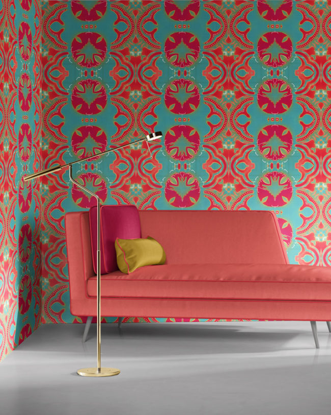 Morris in turquoise, coral and magenta, reminiscent of William Morris designed wallpaper, is a modern, colorful luxury wallpaper designed in Los Angeles. Design - Morris by Pearl and Maude. Vellum wallpaper comes untrimmed.
