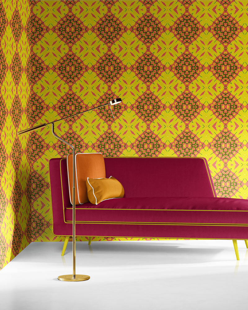 Yellow Diamonds in yellow, coral and olive is a bold, colorful luxury wallpaper designed in Los Angeles. Design - Yellow Diamonds by Pearl and Maude. Vellum wallpaper comes untrimmed.