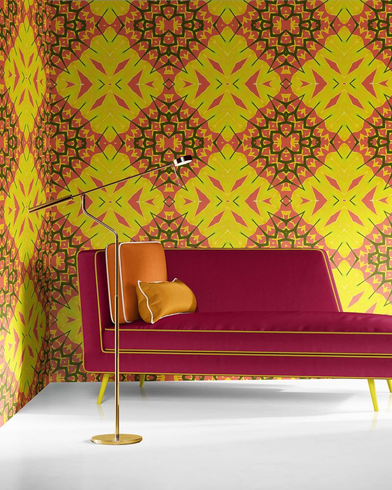 Yellow Diamonds in yellow, coral and olive is a bold, colorful luxury wallpaper designed in Los Angeles. Design - Yellow Diamonds by Pearl and Maude. Standard wallpaper comes pre-pasted.