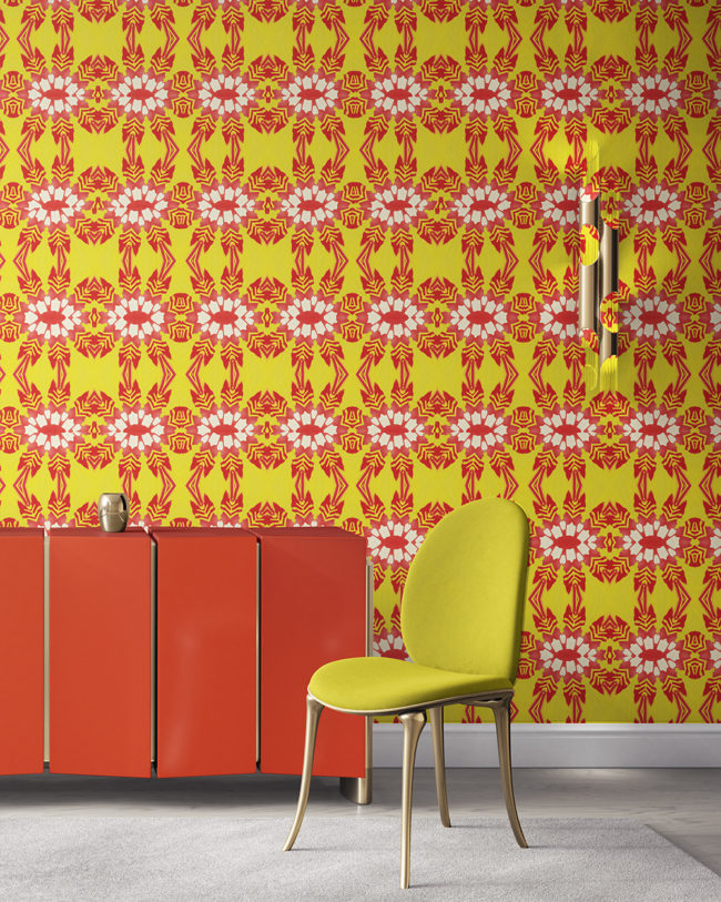 Artemis in hot yellow and red is a tropical floral luxury wallpaper designed in Los Angeles. Design - Artemis by Pearl and Maude. Vellum wallpaper comes untrimmed. Standard wallpaper comes pre-pasted.