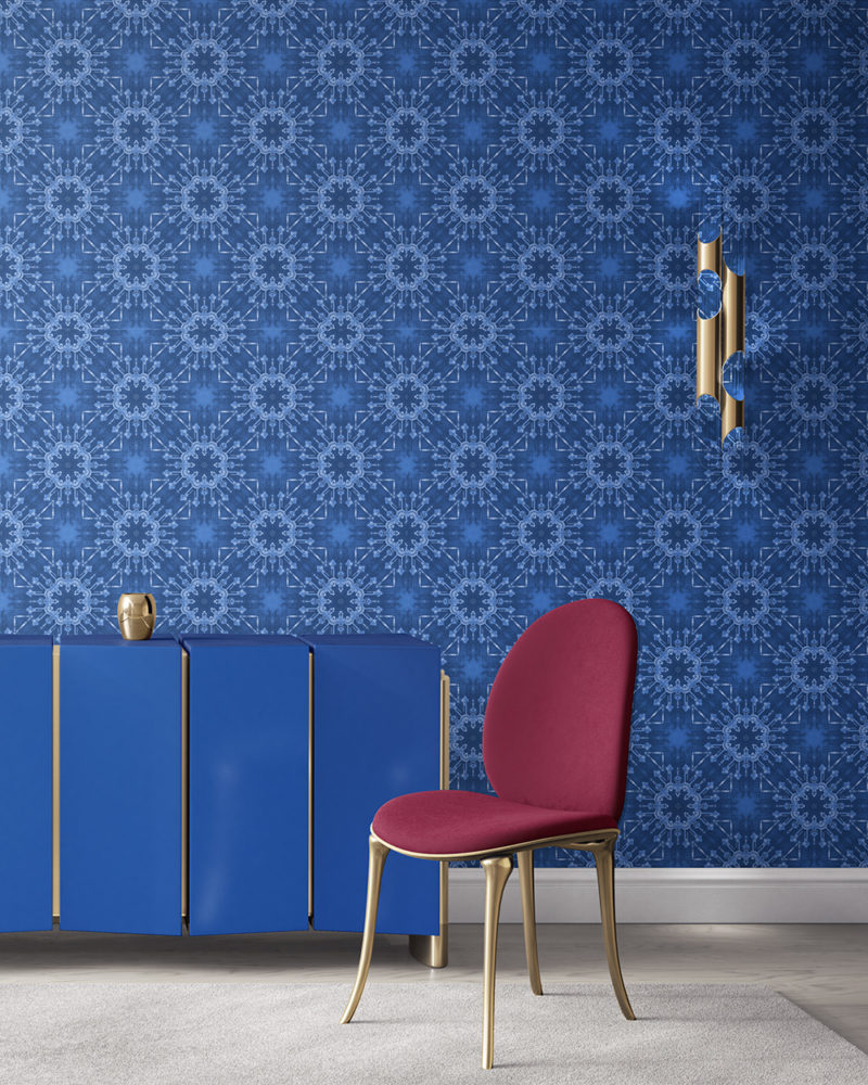 Elton in cobalt blue is a modern medallion colorful luxury wallpaper designed in Los Angeles. Design - Elton by Pearl and Maude. Vellum wallpaper comes untrimmed.