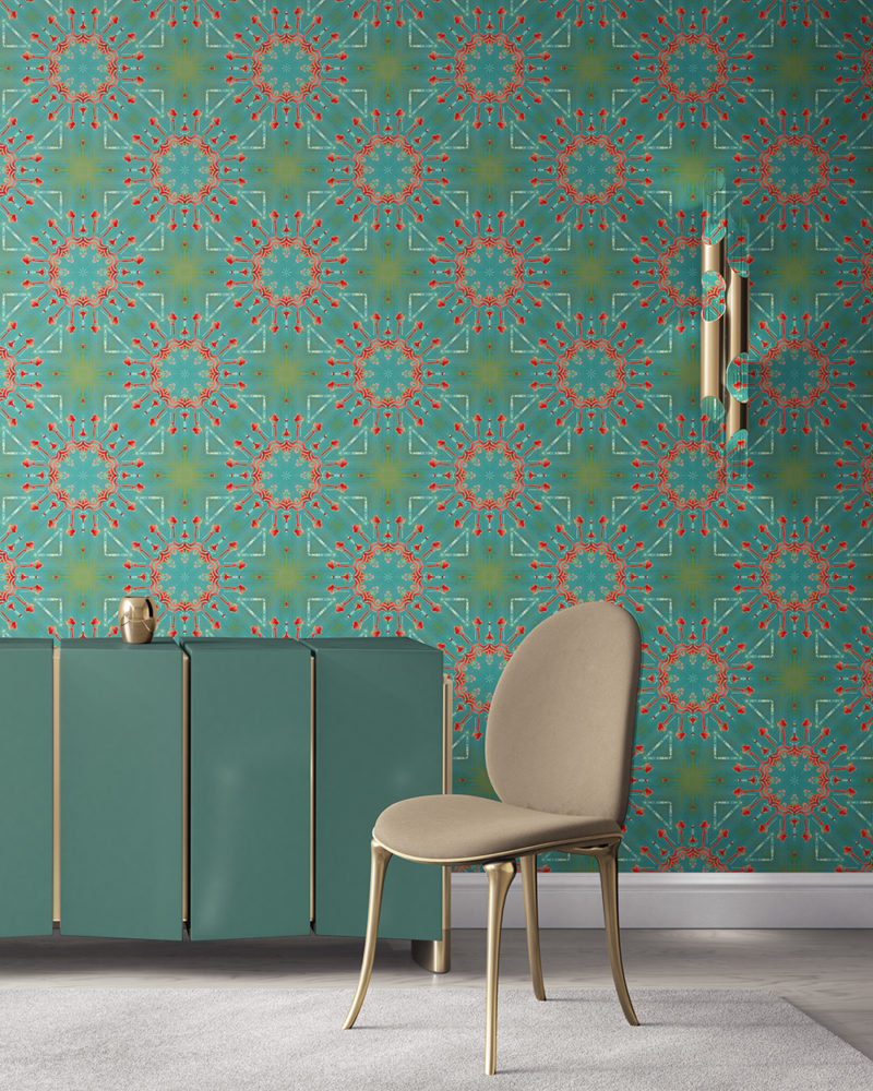 Elton in turquoise and coral is a modern medallion colorful luxury wallpaper designed in Los Angeles. Design - Elton by Pearl and Maude. Standard wallpaper comes pre-pasted.