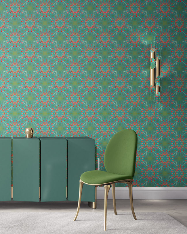 Elton in turquoise and coral is a modern medallion colorful luxury wallpaper designed in Los Angeles. Design - Elton by Pearl and Maude. Vellum wallpaper comes untrimmed.
