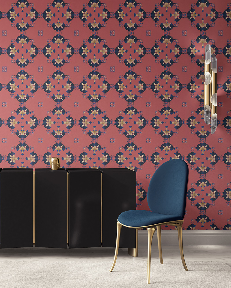 Terracotta pink, blue and gold wallpaper designed in Los Angeles makes this sophisticated art deco interior more luxurious. Design - Eva by Pearl and Maude. Vellum wallpaper comes untrimmed. Standard wallpaper comes pre-pasted.