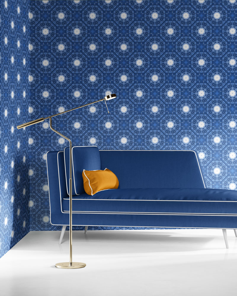 Beaufort in blue and white is a classic medallion design luxury wallpaper designed in Los Angeles. Design - Beaufort by Pearl and Maude. Vellum wallpaper comes untrimmed. Standard wallpaper comes pre-pasted.