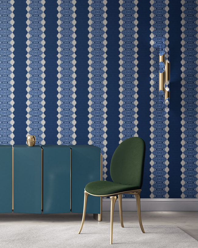 Lou in blue is a unique striped wallpaper designed for fun, luxurious interiors. Design - Lou by Pearl and Maude. Grasscloth wallcovering comes untrimmed.