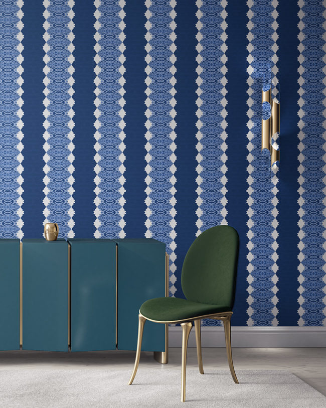 Lou in blue is a unique striped wallpaper designed for fun, luxurious interiors. Design - Lou by Pearl and Maude. Vellum wallpaper comes untrimmed. Standard wallpaper comes pre-pasted.