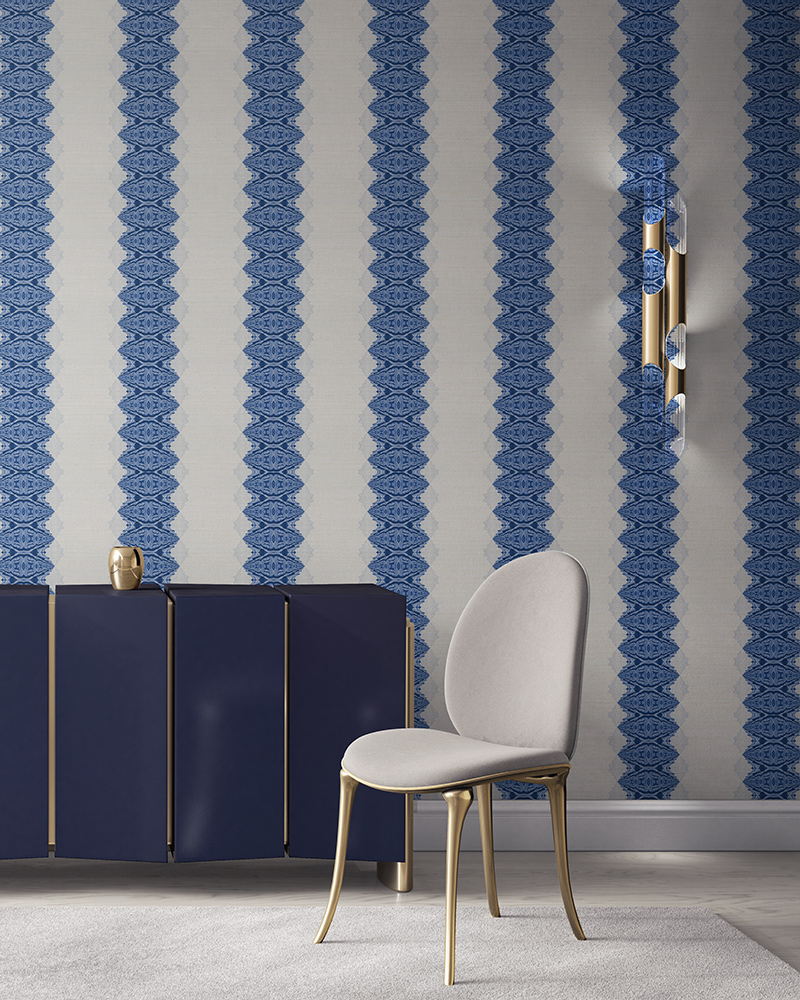 Lou in blue and white is a unique striped wallpaper designed for fun, luxurious interiors. Design - Lou by Pearl and Maude. Grasscloth wallcovering comes untrimmed.