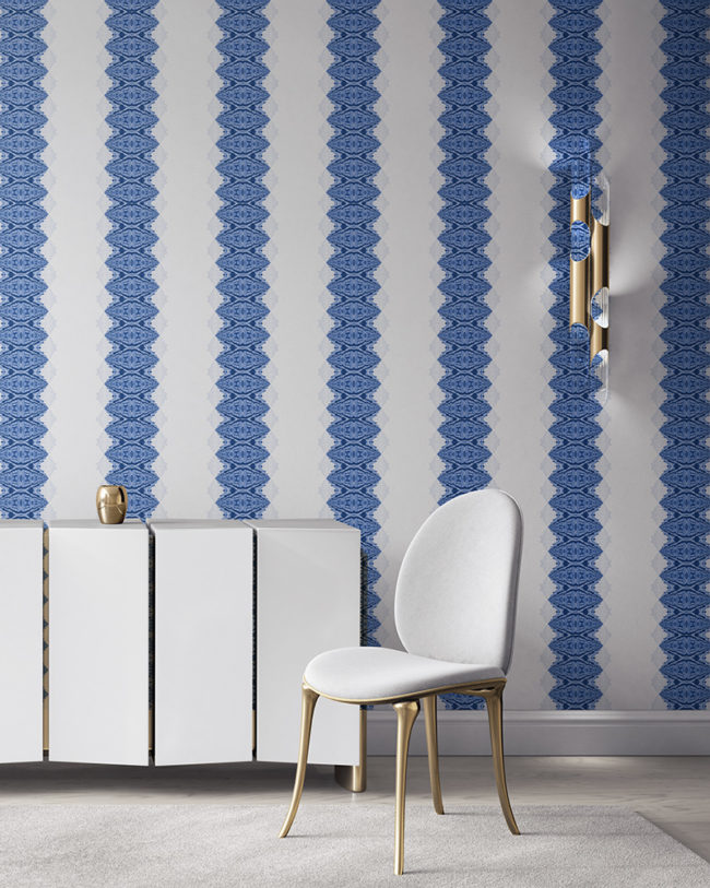 Lou in blue and white is a unique striped wallpaper designed for fun, luxurious interiors. Design - Lou by Pearl and Maude. Vellum wallpaper comes untrimmed. Standard wallpaper comes pre-pasted.