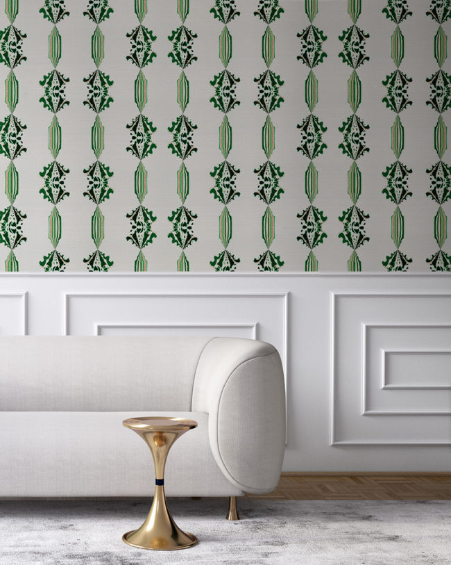 Charlie in green, white and gold is a floral and stripe wallpaper designed in Los Angeles. Design - Charlie by Pearl and Maude. Grasscloth wallcovering comes untrimmed.