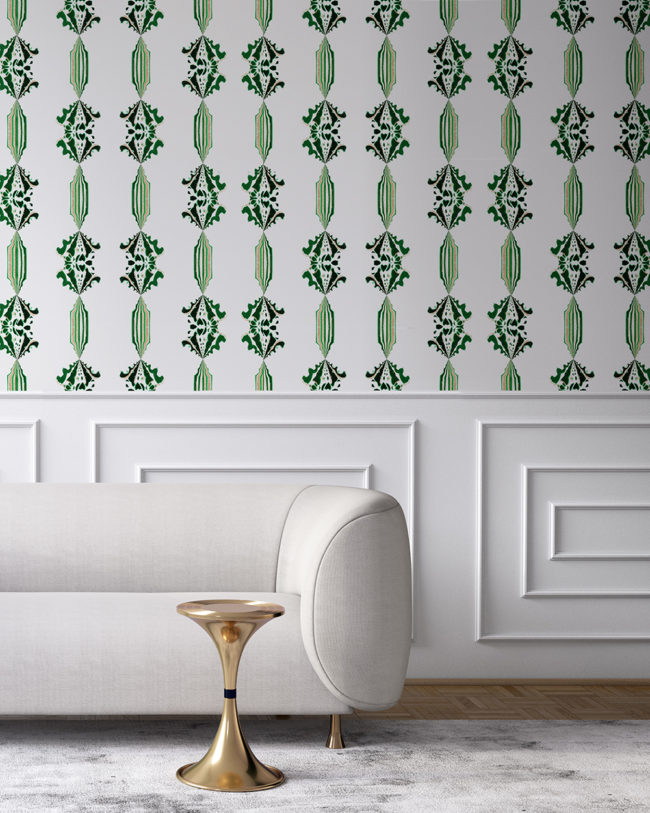 Charlie in green, white and gold is a floral and stripe wallpaper designed in Los Angeles. Design - Charlie by Pearl and Maude. Vellum wallpaper comes untrimmed. Standard wallpaper comes pre-pasted.