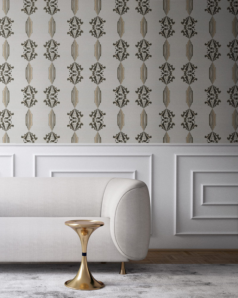 Charlie in neutral, white and gold is a floral and stripe wallpaper designed in Los Angeles. Design - Charlie by Pearl and Maude. Grasscloth wallcovering comes untrimmed.