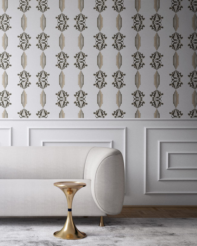 Charlie in neutral, white and gold is a floral and stripe wallpaper designed in Los Angeles. Design - Charlie by Pearl and Maude. Vellum wallpaper comes untrimmed. Standard wallpaper comes pre-pasted.