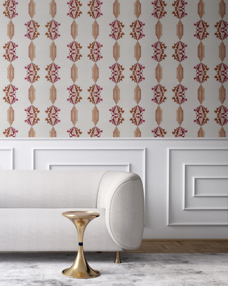 Charlie in red, white and gold is a floral and stripe wallpaper designed in Los Angeles. Design - Charlie by Pearl and Maude. Grasscloth wallcovering comes untrimmed.