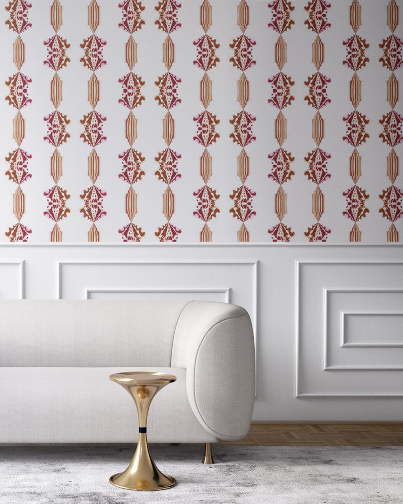 Charlie in burgundy red, white and gold is a floral and stripe wallpaper designed in Los Angeles. Design - Charlie by Pearl and Maude. Vellum wallpaper comes untrimmed. Standard wallpaper comes pre-pasted.