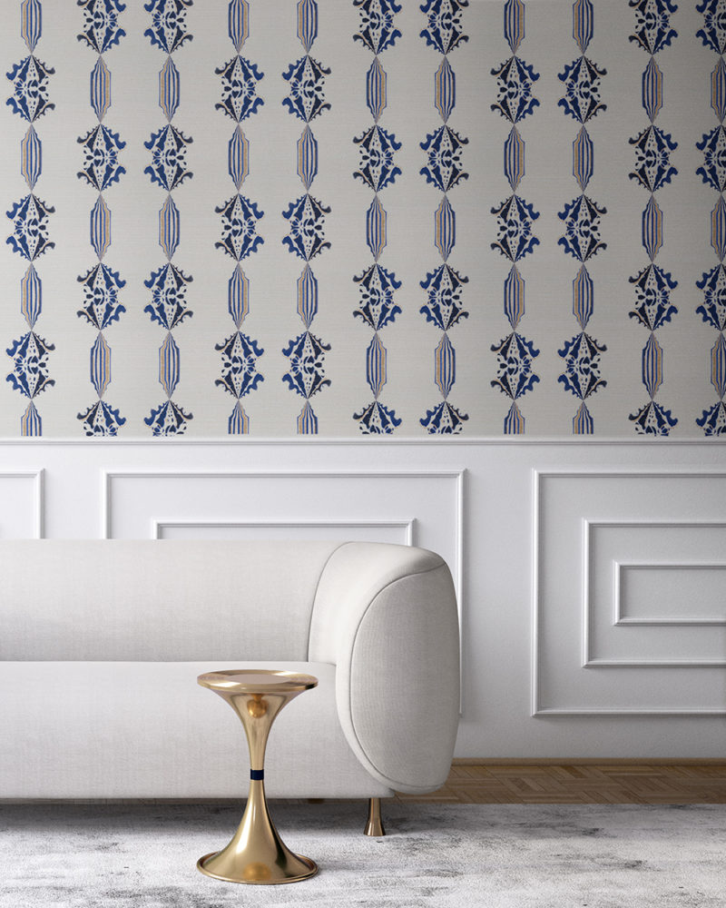 Charlie in blue, white and gold is a floral and stripe wallpaper designed in Los Angeles. Design - Charlie by Pearl and Maude. Grasscloth wallcovering comes untrimmed.