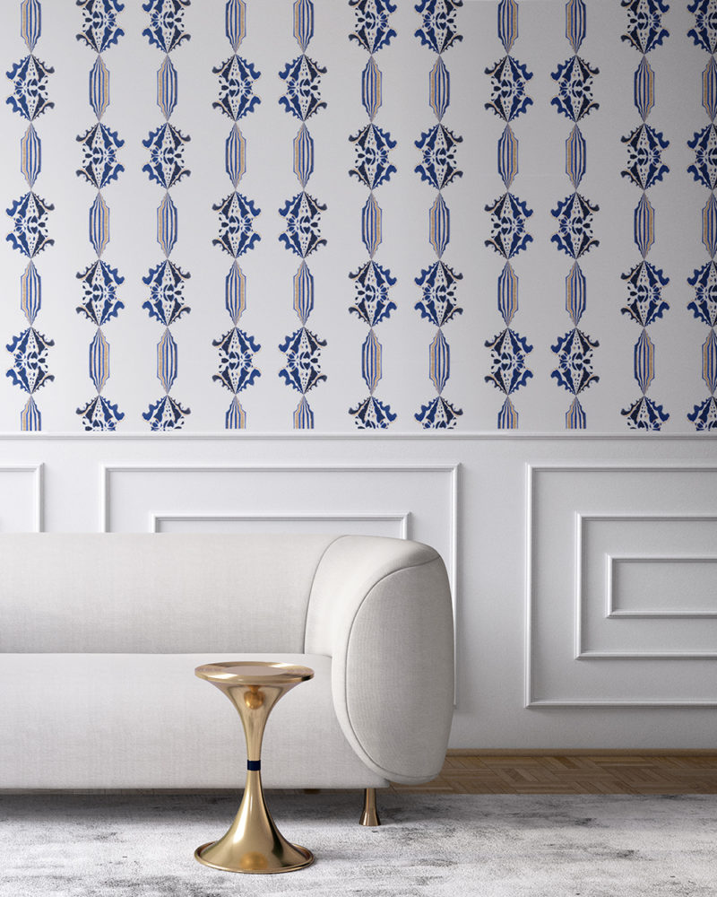 Charlie in blue, white and gold is a floral and stripe wallpaper designed in Los Angeles. Design - Charlie by Pearl and Maude. Vellum wallpaper comes untrimmed. Standard wallpaper comes pre-pasted.
