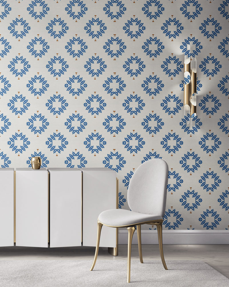 Emmett is a blue and white wallpaper designed in Los Angeles. This diamond pattern wallpaper is perfect for casual luxury homes. Design - Emmett by Pearl and Maude. Grasscloth wallcovering comes untrimmed.