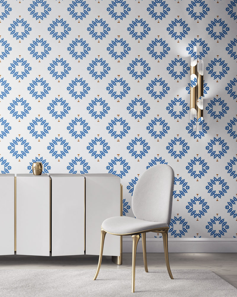 Emmett is a blue and white wallpaper designed in Los Angeles. This diamond pattern wallpaper is perfect for casual luxury homes. Design - Emmett by Pearl and Maude. Vellum wallpaper comes untrimmed. Standard wallpaper comes pre-pasted.