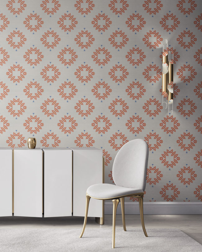 Emmett is a peach, white and blue wallpaper designed in Los Angeles. This diamond pattern wallpaper is perfect for casual luxury homes. Design - Emmett by Pearl and Maude. Grasscloth wallcovering comes untrimmed.